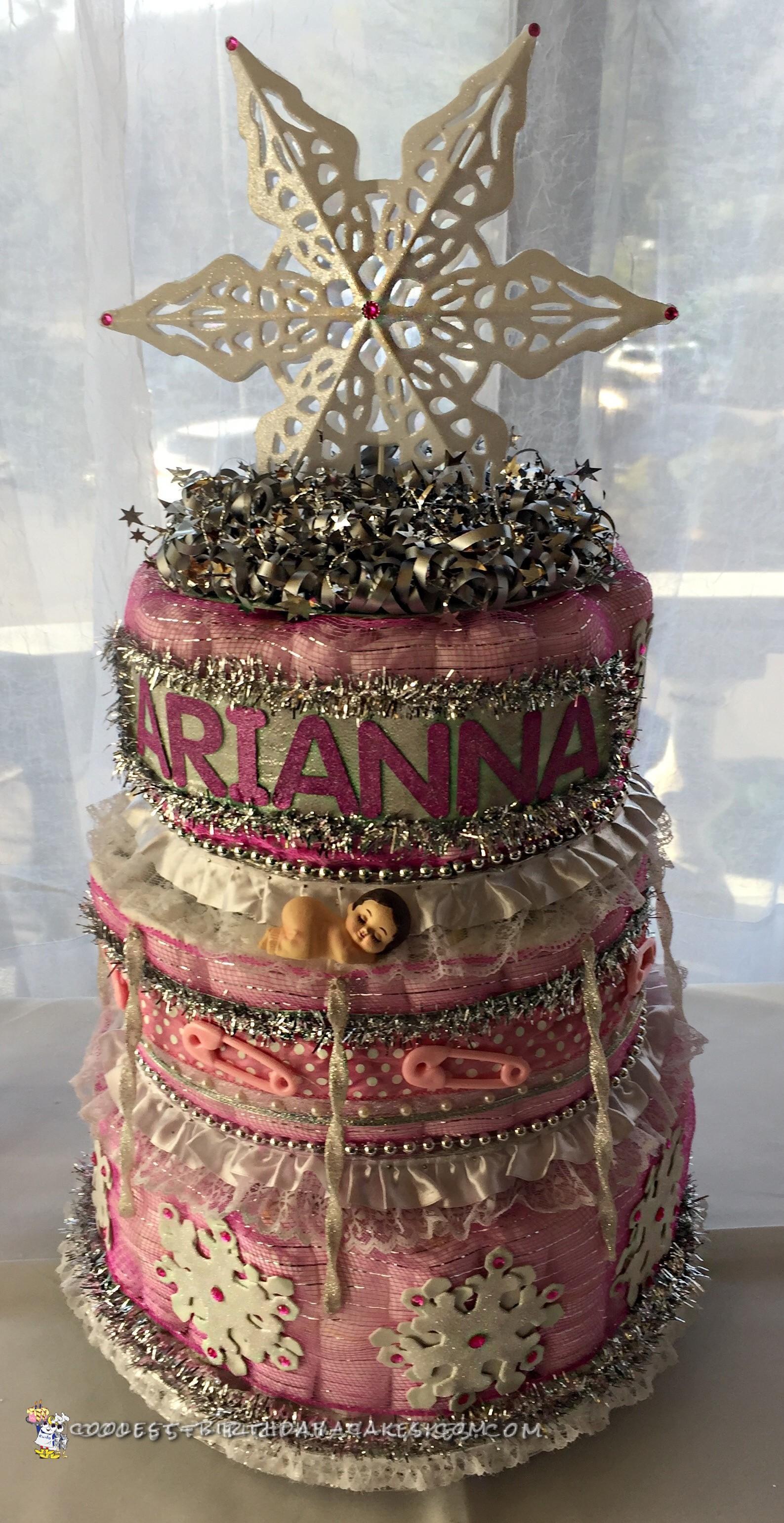 Pink Winter Wonderland Diaper Cake