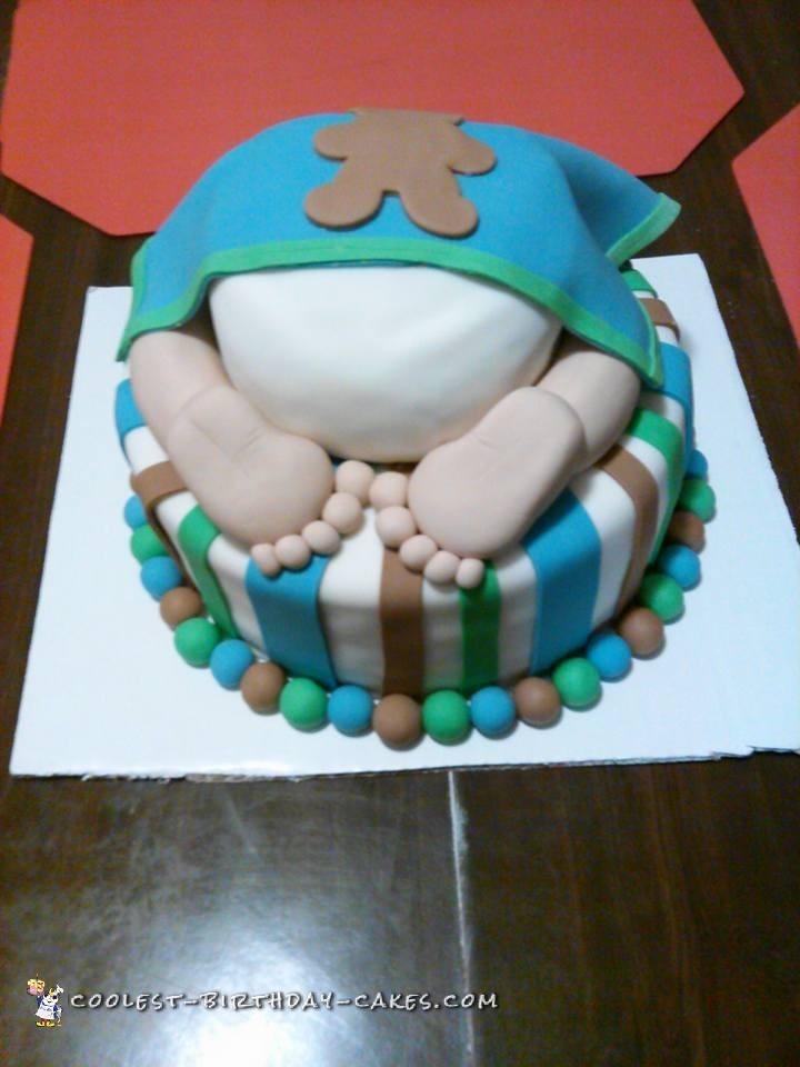 Cute Baby's Bottom Baby Shower Cake
