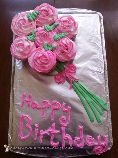 Beautiful Bouquet Cupcake Birthday Cake