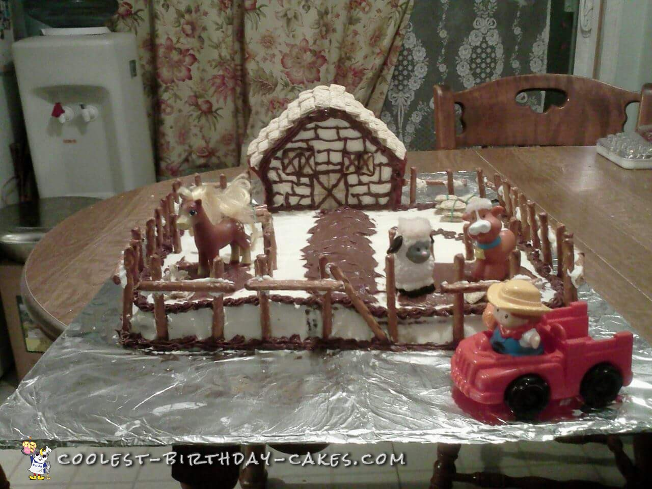 Cool Farm Cake with Pretzel Stick Fence