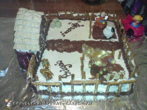 Cool Farm Cake with Pretzel Stick Fence