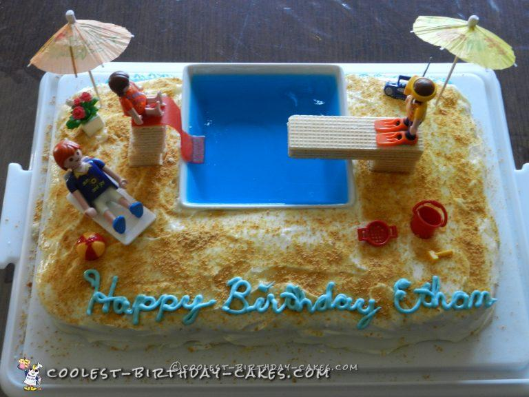 Excellent Fun Pool Party Cake Funny Birthday Cards Online Inifodamsfinfo