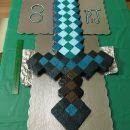 Awesome Minecraft Diamond Sword Birthday Cake