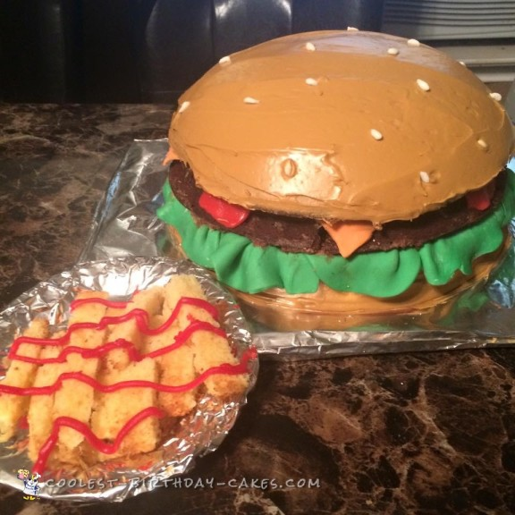 The Coolest Burger and Fries Cake
