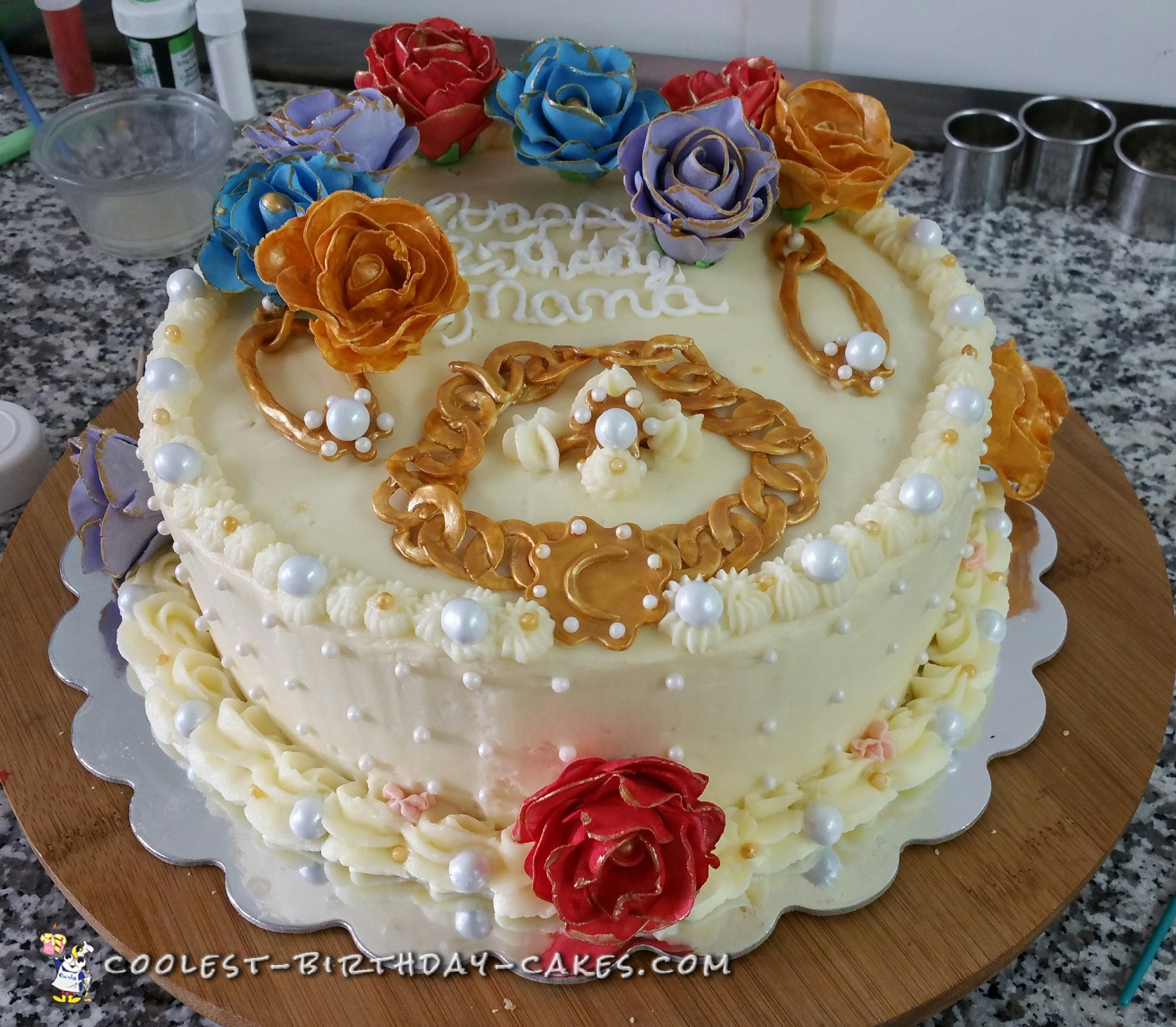 I Made This For A 70 Years Old Woman She Is Well Refined And Loves Her Jewelry Flowers Use Two 10 Inch Round Cake Pans