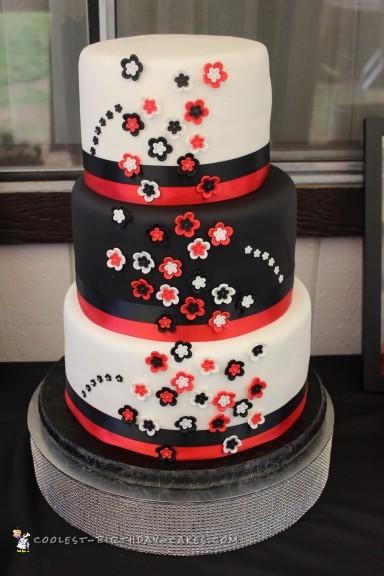 Red and White Lamp Wedding Cake