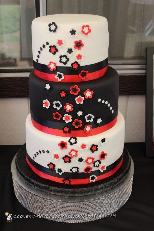 Red and White Lamp Wedding Cake