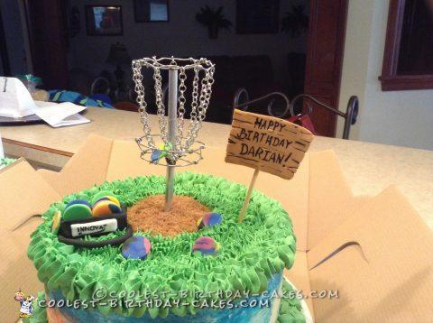 Tie Dye Disc Golf Cake