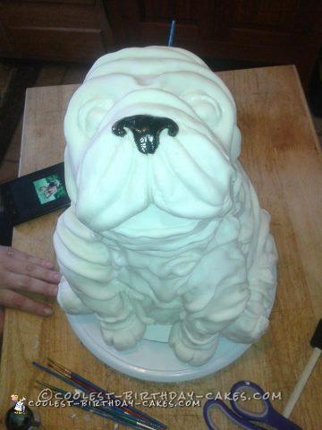 Realistic 3D Sculpted Bulldog Cake