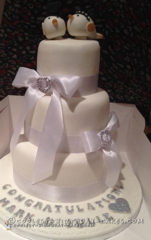 All-White Cute Wedding Cake