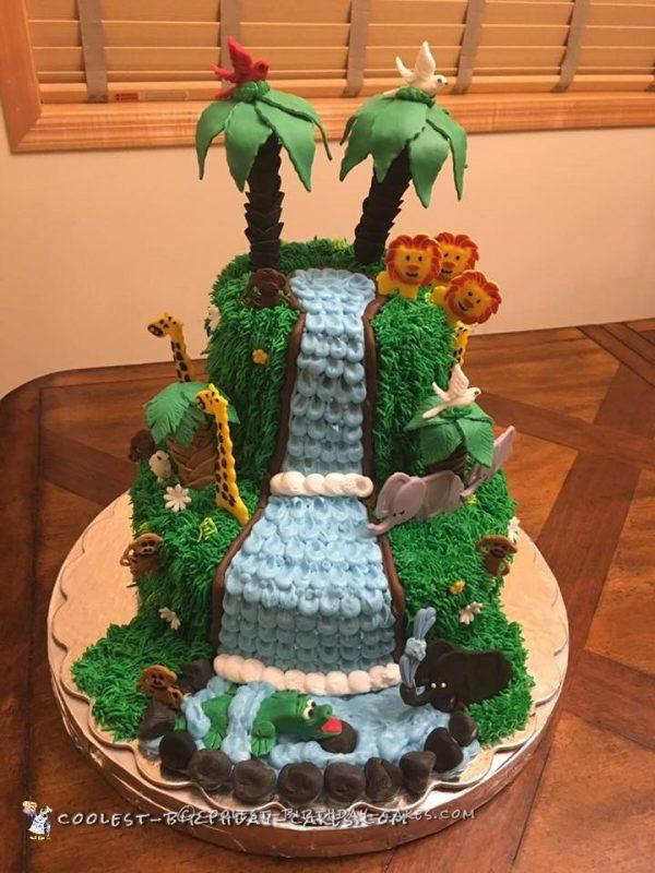 Amazing Homemade Jungle Cake with a Waterfall