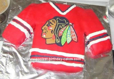 Homemade Chicago Blackhawks Cake