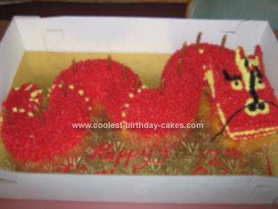 Homemade 12th Birthday Dragon Cake