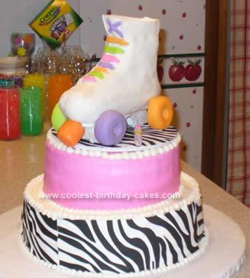 Homemade 13th Birthday Roller Skate Cake