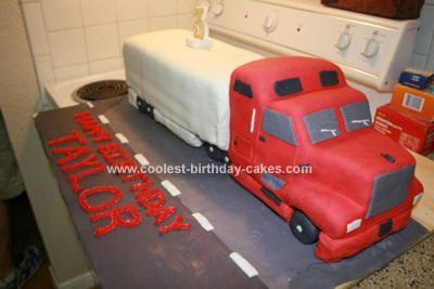 Homemade 18 Wheeler Birthday Cake
