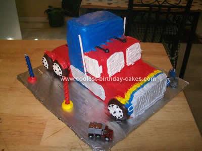 Homemade 18 Wheeler Transformers Birthday Cake