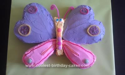 Homemade 1st Birthday Butterfly Cake