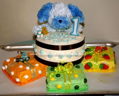 Coolest 1st Birthday Cake With 3 Gift Box Cakes