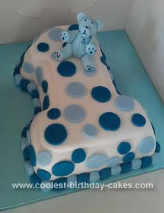 Awesome 1st Birthday Cake With Blue Teddy Bear