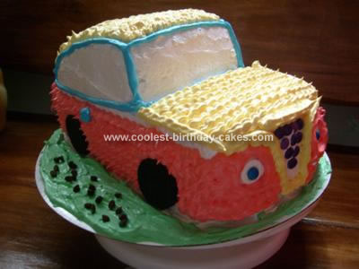Homemade 1st Birthday Car Cake
