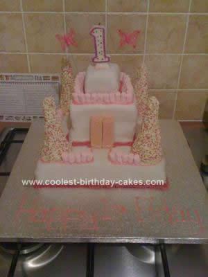 Homemade 1st Birthday Castle Cake