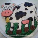 Homemade 1st Birthday Cow Cake