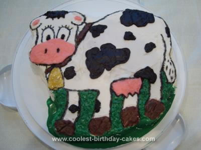 Homemade 1st Birthday Cow Cake
