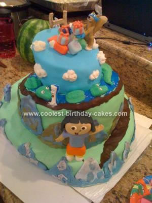 Homemade 1st Birthday Dora Cake