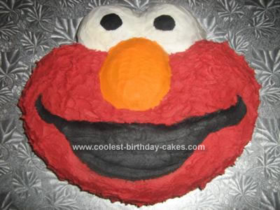 Homemade 1st Birthday Elmo Cake