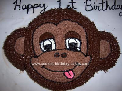 Homemade 1st Birthday Monkey Cake