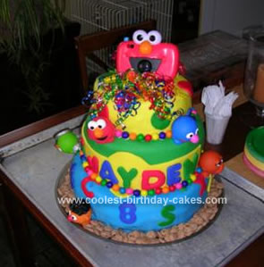 Homemade 1st Birthday Sesame Street Cake
