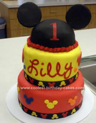 Homemade 1st Mickey Mouse Birthday Cake