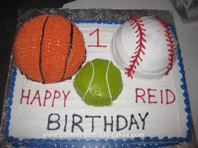 Homemade 1st Sports Ball Birthday Cake