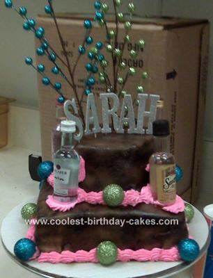 Awe Inspiring Coolest 21St Birthday Cake With Liquor Bottles Personalised Birthday Cards Veneteletsinfo