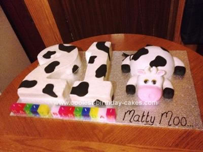 Homemade 21st Cow Birthday Cake