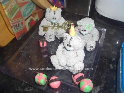 Homemade 21st Tatty Teddy Bear Cake