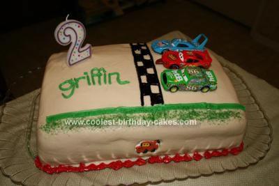 Homemade 2nd Birthday Cars Cake