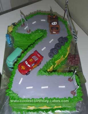 Homemade 2nd Birthday Race Track Cake