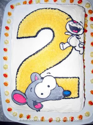 Homemade 2nd Birthday Toopy and Binoo Cake