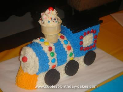 Homemade 2nd Birthday Train Cake