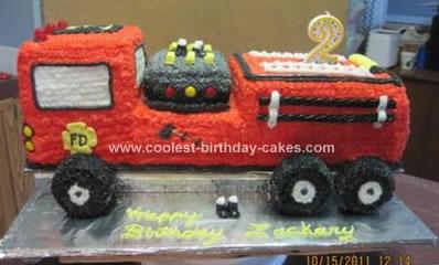 Homemade 2nd Firetruck Birthday Cake