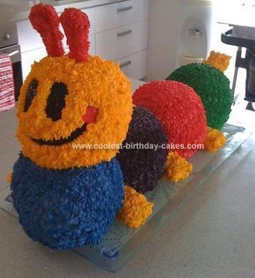 Homemade 3D Baby Einstein Caterpillar Cake