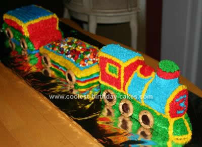 Homemade 3D Train Birthday Cake Idea