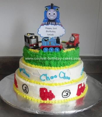 Homemade 3-layer Thomas Train Cake