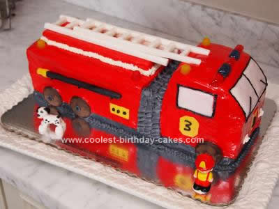Awesome Coolest Homemade Fire Trucks And Firefighter Theme Cakes Personalised Birthday Cards Veneteletsinfo