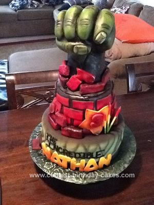 Homemade 3rd Birthday Hulk Cake