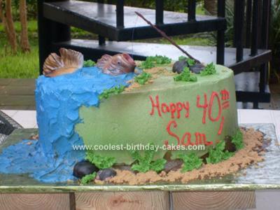 Homemade 40th Birthday Fishing Cake