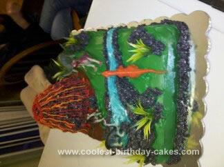 Homemade 4th Birthday Dinosaur and Volcano Cake