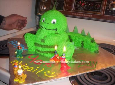 Homemade 4th Birthday Dinosaur Cake