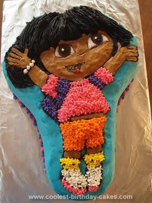 Homemade 4th Birthday Dora Cake
